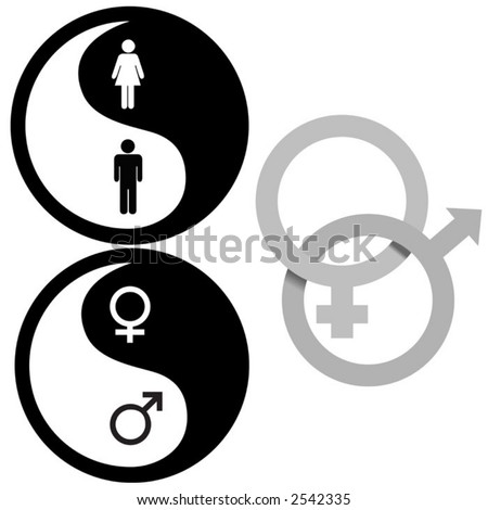 The Zen of Sex - Yin Yang and Interlocking Male and Female symbols, for all your gender issue needs. - stock vector