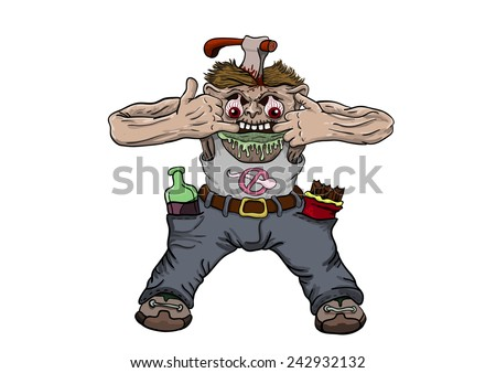 the zombie costs having thrust fingers into a mouth and a vgolova at it the axe sticks out  - stock vector