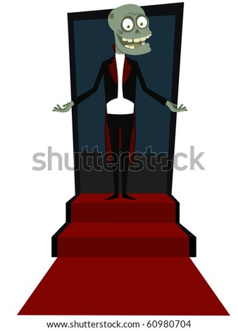 The zombie on a ladder - stock vector