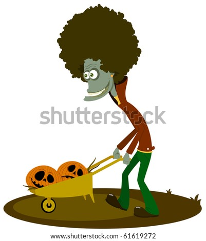 The zombie with a cart of pumpkins - stock vector
