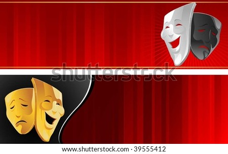 Theater banner with mask - stock vector