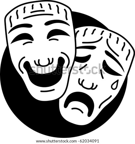 Theater comedy and tragedy mask. Vector image. - stock vector