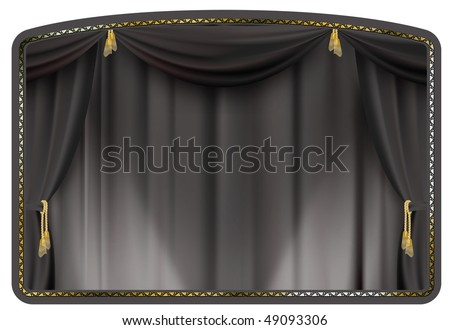 theater curtain black tied with gold tassels - stock vector