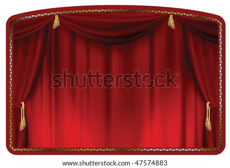 theater curtain red tied with gold tassels