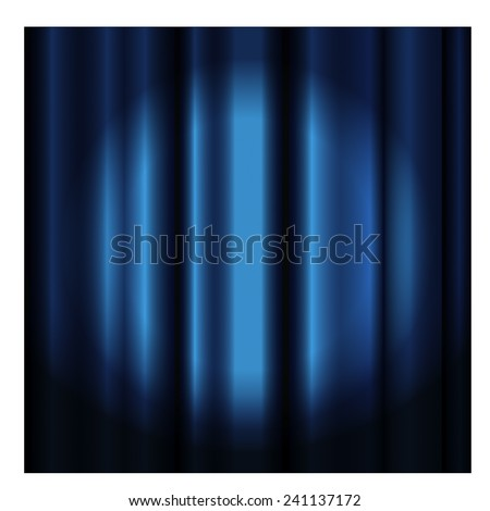 Theater curtain with spotlight -blue - stock vector