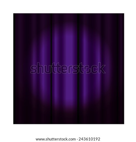 Theater curtain with spotlight -purple - stock vector
