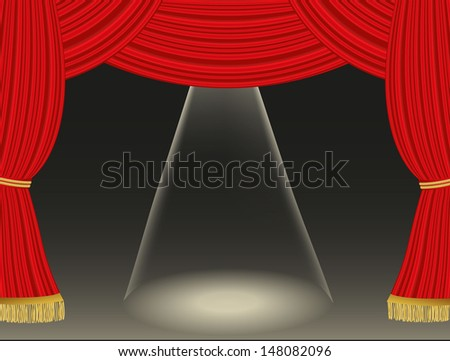 Theater curtains background with spotlight - stock vector