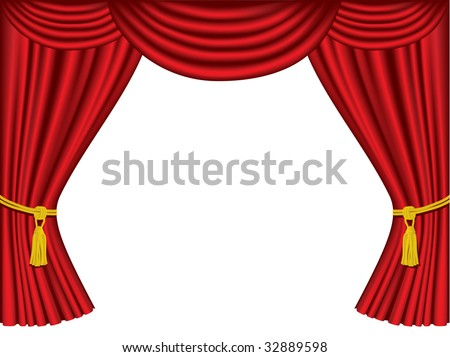 Theater curtains with copy space - stock vector