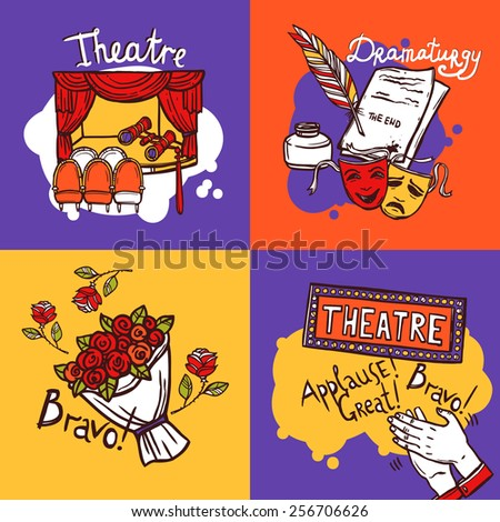 Theater design concept set with dramaturgy actor and play sketch icons isolated vector illustration  - stock vector