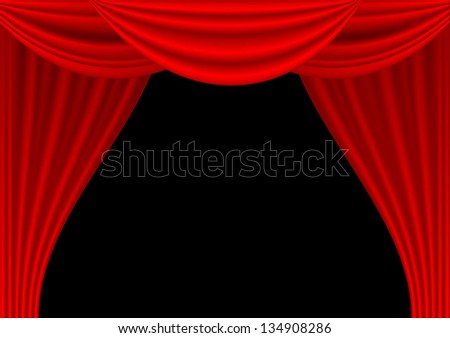 Theater draped curtain on black