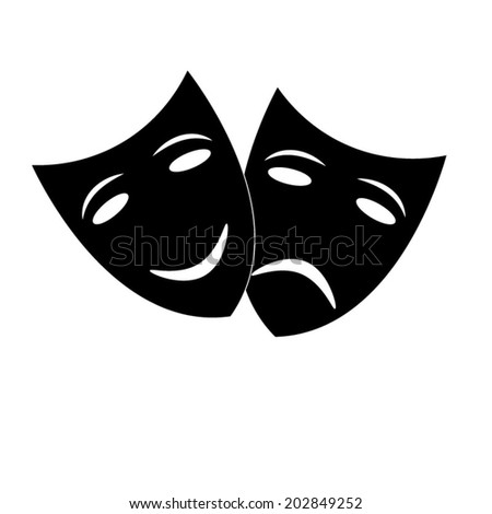 Theater icon with happy and sad masks  - stock vector