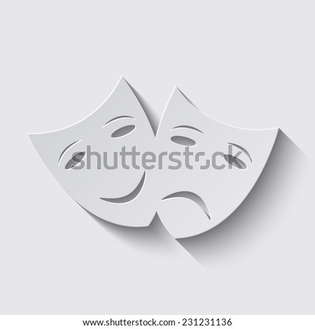 Theater icon with happy and sad masks with shadow on a grey background - stock vector