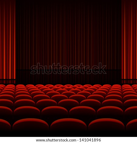 Theater interior with red curtains and seats. Vector. - stock vector