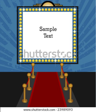Theater marquee sign with red carpet vector - stock vector