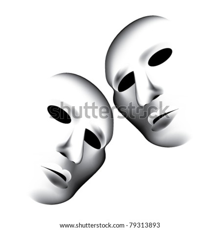 theater masks - stock vector