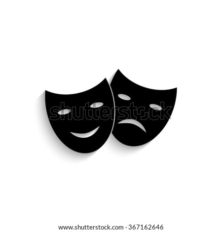 Theater masks - black vector  icon with shadow - stock vector