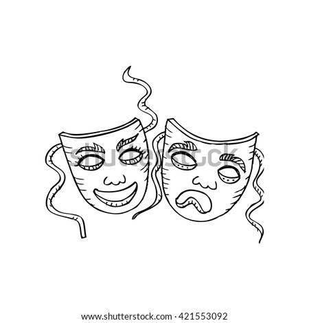 Theater masks, drama and comedy. Sketchy style. - stock vector