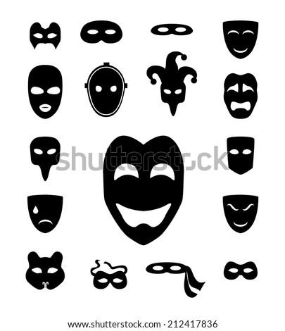 Theater masks monochrome set - stock vector