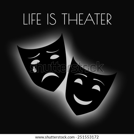 Theater masks. Vector illustration. - stock vector