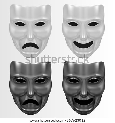 Theater masks white and black - stock vector