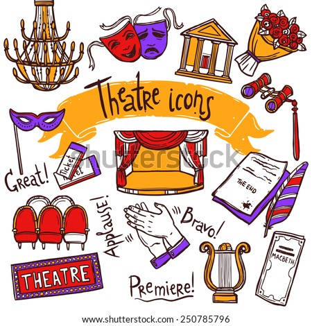 Theater performance decorative icons sketch set with mask applause flowers isolated vector illustration - stock vector