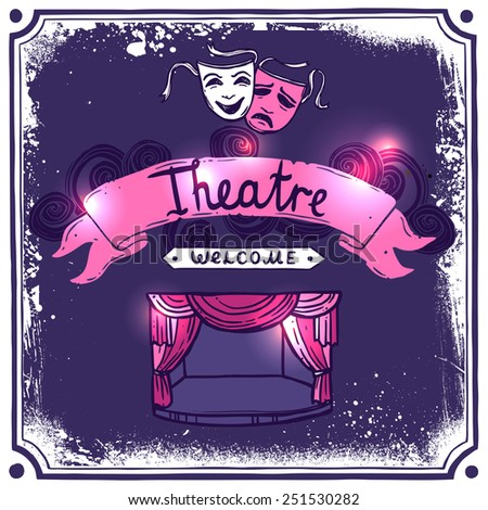 Theater performance promo poster sketch with masks stage curtain and ribbon banner vector illustration - stock vector