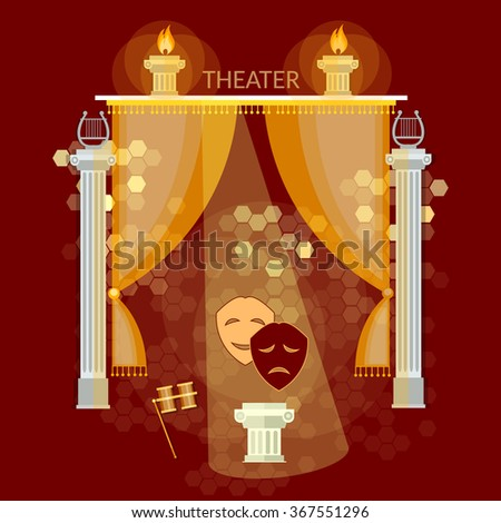 Theater performance vintage theater stage curtain comedy and tragedy masks vector illustration - stock vector
