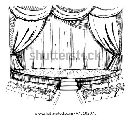Theater SceneSketch Vector Illustration Isolated