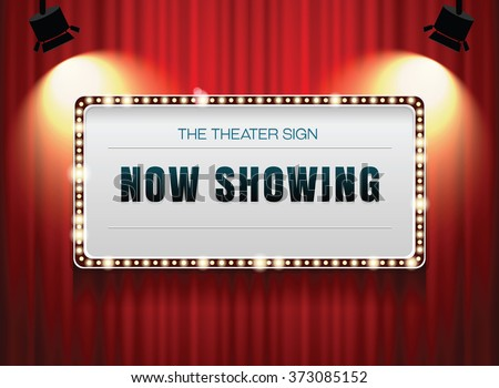 theater sign on curtain,cinema sign - stock vector