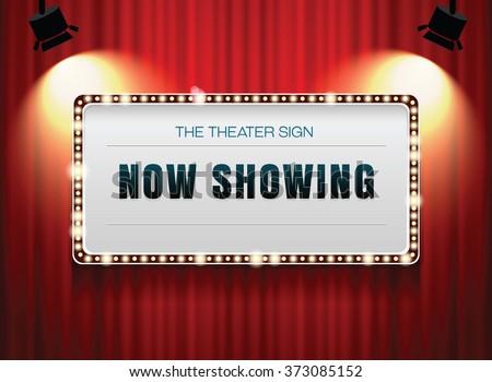 theater sign on curtainlight frameneonborder stock vector