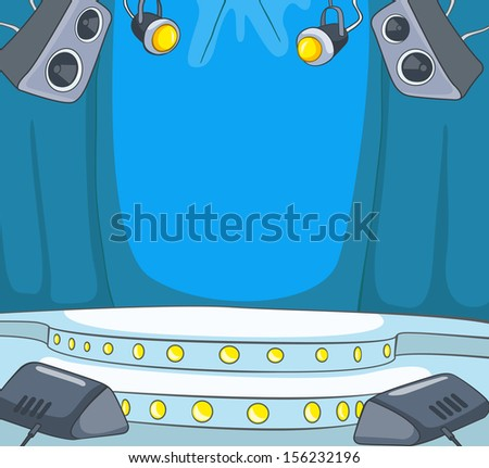 Theater Stage Cartoon - stock vector