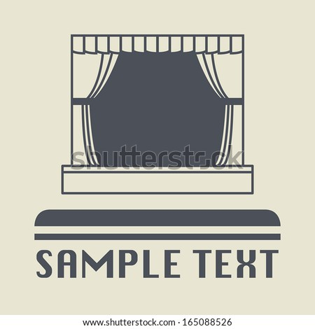 Theater stage icon or sign, vector illustration - stock vector