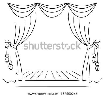 Theater stage vector sketch - stock vector