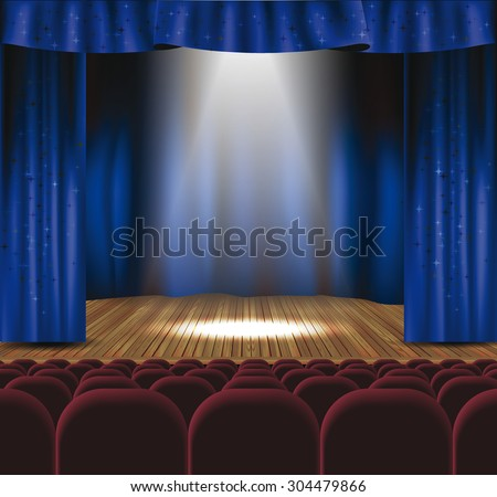 Theater stage with blue curtain, spotlights and seats - stock vector