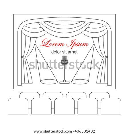 Theater stage with curtain, spotlights, microphone and seats vector line illustration.  Entertainment icon.  - stock vector