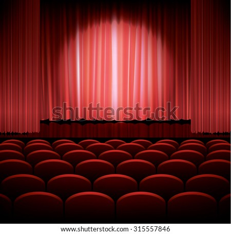 Theater stage with red curtain and spot light, vector illustration