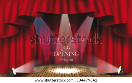Theater stage with red curtain and spotlights.Big opening invitation - stock vector