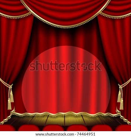 Theater stage  with red curtain. Clipping Mask - stock vector
