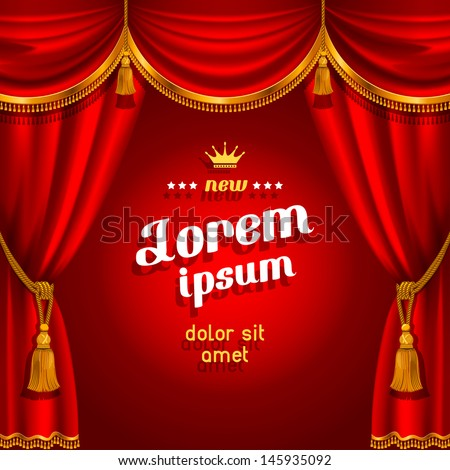 Theater stage with red curtain. Detailed vector illustration. - stock vector