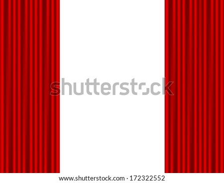 Theater stage with red curtain white background - stock vector