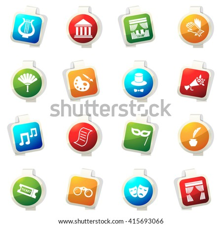 Theater stickers label icon set for web sites