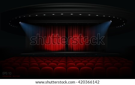 Theater venue with red curtains and spotlights.  Vector. Each part is in different group, so its easy to change, edit positions  or insert new object into composition. - stock vector