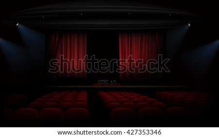 Theater  with red curtains and spotlights. Vector. Each part is in different group, so its easy to change, edit positions or insert new object into composition. - stock vector