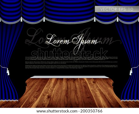 Theater wooden stage, luxury blue curtains with decorative silver tassels and rims - vector - stock vector