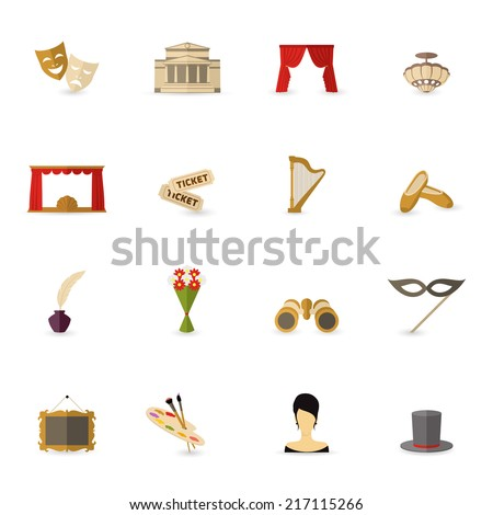 Theatre acting performance icons set flat isolated vector illustration - stock vector