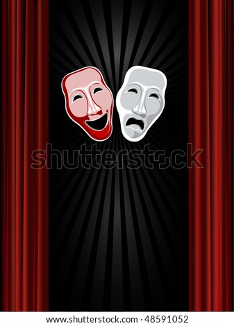 theatre comedy and tragedy masks and black background - stock vector