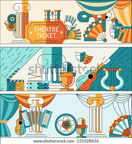 Theatre flat line banner set with ticket decorations masks isolated vector illustration - stock vector