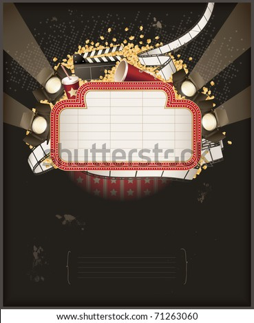 Theatre marquee with movie theme objects. Composition - stock vector