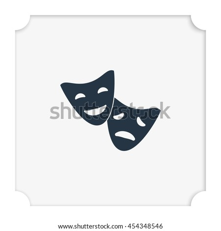 Theatrical comedy and tragedy masks symbol.