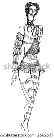 theatrical costume, hunter women - stock vector